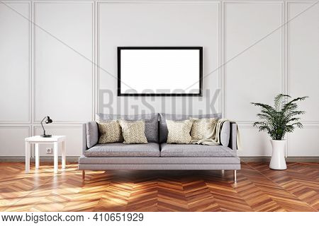 Minimalistic Elegant Living Room Interior With Vintage Sofa In Front Of White Wall; Copy Space White