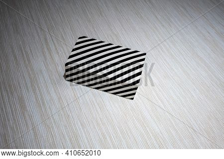 Black And White Stripe Box On White Yellow Pattern Background. Art Box For Decoration.