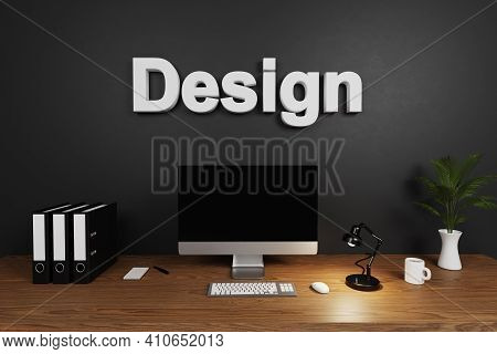 Organized Tidy Clean Office Workspace With Computer Screen And Dark Concrete Wall; Design Lettering;