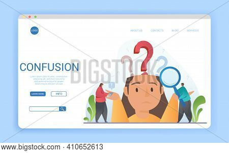 Confused Woman Showing Her Ignorance With Question Marks Above Her Head, Magnifying Glass And Copysp