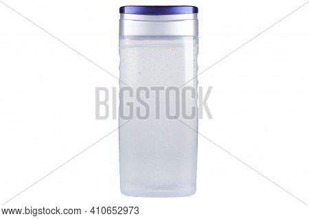 Bottle Of Soap Or Sanitizer Gel Or Shower Gel On White Background. Shower Gel Bottle Isolated On Whi
