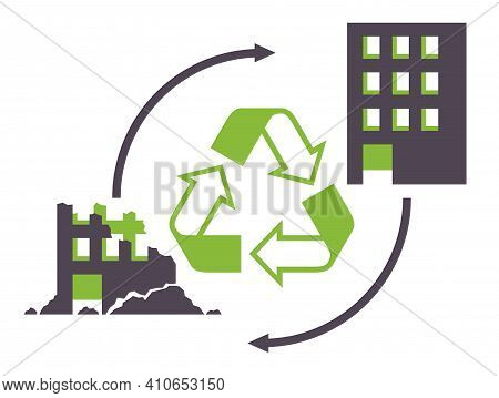 Construction And Demolition Waste Recycling - Destroying Building Construction Turs To New One With