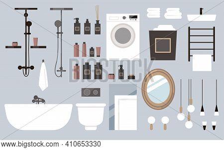 Vector Flat Bathroom Furniture Set. Assemble Bathroom Yourself, Deluxe Hotel Room, Spa Salon, Suite.