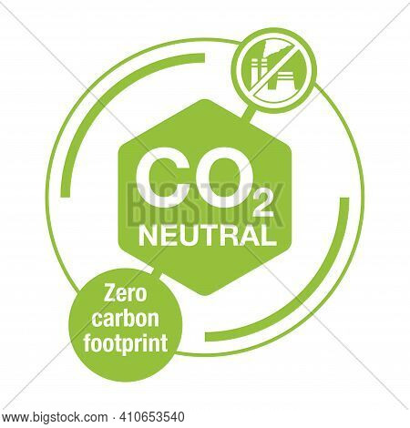 Co2 Neutral. Net Zero Carbon Footprint - Carbon Emissions Free No Air Atmosphere Pollution Industria