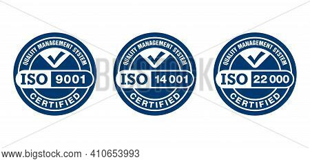 Iso 9001, 14001 And 22000 Certified Monochrome Pictograms Set - Quality Management System Internatio