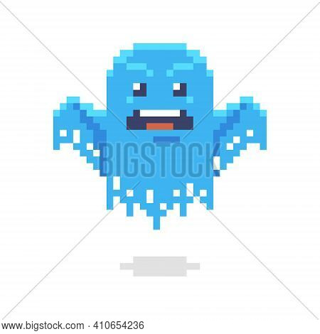 Colorful Simple Flat Pixel Art Illustration Of Cartoon Gloomy And Frightening Ghost