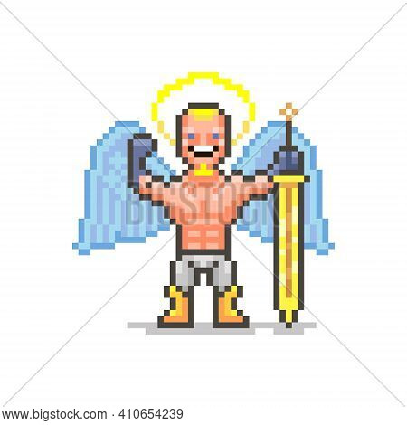 Colorful Simple Flat Pixel Art Illustration Of Smiling Strong Guardian Angel With Golden Sword Shows