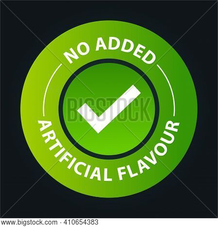 'no Added Artificial Flavor Vector Icon With Tick Mark,  Green In Color