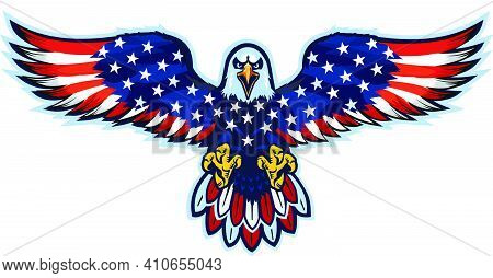 American Eagle With Usa Flags. Fly Eagle
