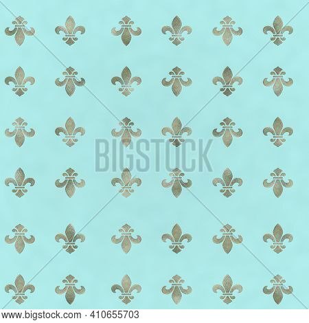 Classical French Black And White Fleur-de-lis Seamless Pattern With A Repeat Motif In Square Format