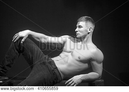 Brutal Man With Muscular Body, Athletic Body, Male Fashion And Charisma.