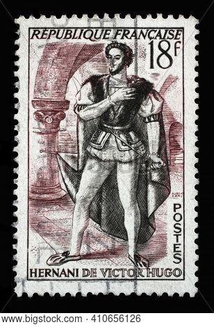 ZAGREB, CROATIA - SEPTEMBER 09, 2014: Stamp printed in the France shows image of Hernani, Hernani ou l'Honneur Castillan by Victor Hugo, Actors series, circa 1953