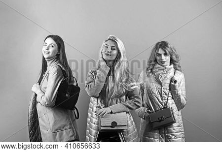 Studio Portrait Of A Group Of Three Young Beautiful Model Smiling And Having Fun.