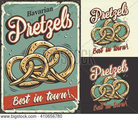 Set Of Poster, Print With Bavarian Beer Pretzels