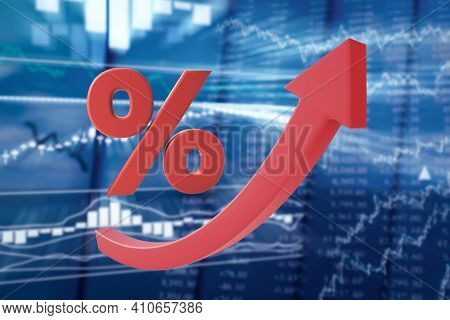 Growing Red Arrow And Percent Symbol On A Blurred Background Of Stock Quotes. Raising The Broker Int