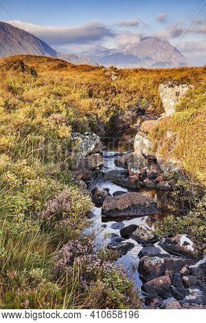 A Small Stream In Glencoe, Lochaber In The Highlands Of Scotland, Uk.