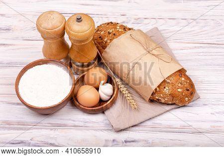 Process Of Making Homemade Bread. Preparing Dough For Baking. Organic Ingredients For Bread Preparat