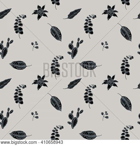 Seamless Pattern With Hand Drawn Stylized Ficus, Iresine, Kalanchoe, Calathea, Guzmania, Cactus Stoc