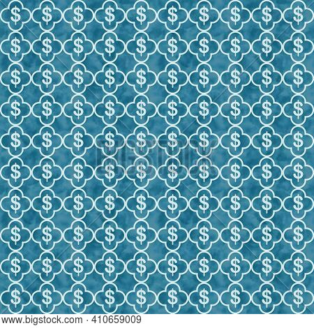 Illustration Blue Dollar Signs And Quatrefoil Lines Weave Material Pattern Background That Is Seamle