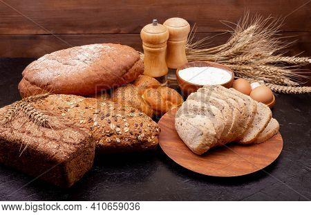 Shopping Food Supermarket Concept. Bread Made From Wheat And Rye Flour. Bakery Products. Various Bre