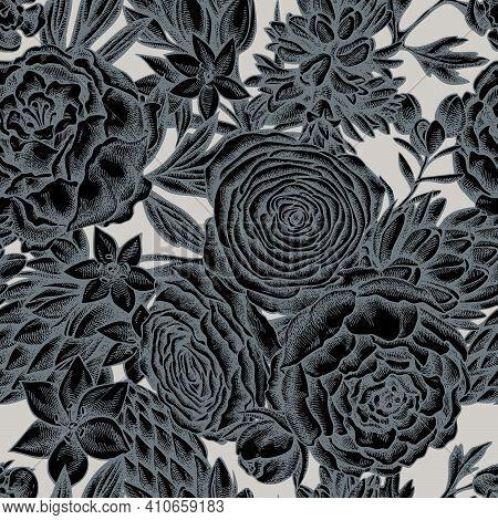 Seamless Pattern With Hand Drawn Stylized Peony, Ranunculus, Wax Flower, Ornithogalum, Hyacinth Stoc