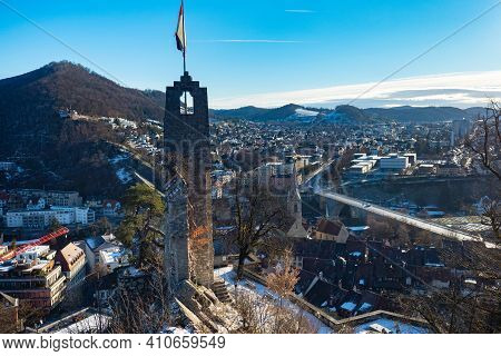 Baden, Switzerland - January 24th 2021: View From Ruin Stein Over The City