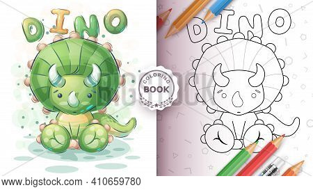 Cute Seat Dinosaur - Coloring Page. Vector Eps 10