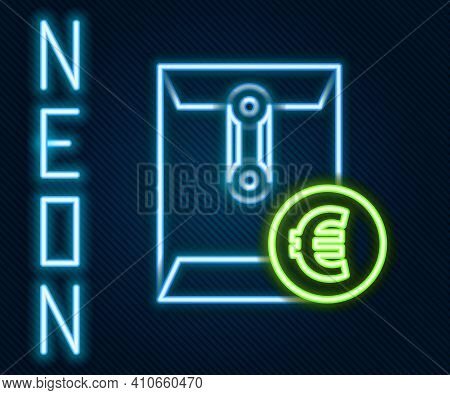 Glowing Neon Line Envelope With Euro Symbol Icon Isolated On Black Background. Salary Increase, Mone