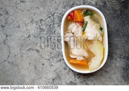Boiled Green Soup Winter Melon With Chicken Drumsticks And Carrot In A White Ceramic Bowl For Health