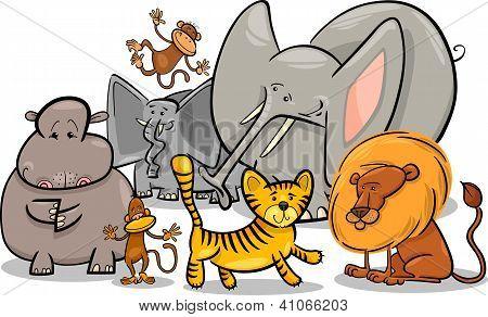 Cartoon Illustration of Cute African Safari Wild Animals Group poster