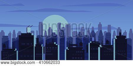 Night City, Skyscrapers Modern Buildings In Dark Urban Scene. Cityscape Dusk Night Mood. Vector Illu