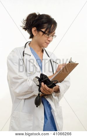Attractive Forties Asian Healthcare Worker Woman