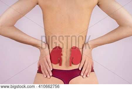 World Kidney Day. Loin Spasm. Young Woman Body. Spine And Kidney Inflammation, Pain And Therapy. Wom