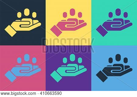 Pop Art Hand For Search A People Icon Isolated On Color Background. Recruitment Or Selection Concept