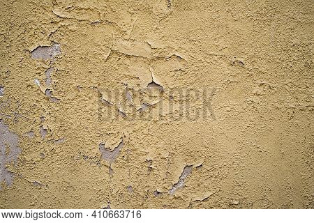 Old Yellow Cement Wall Background And Texture