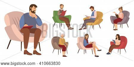 Group Of People Are Sitting Together On Chairs And Talking, Take Notes In A Notebook. The Psychologi