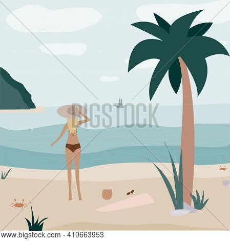 Girl On The Beach Looks At The Horizon. Crab And Palm Tree