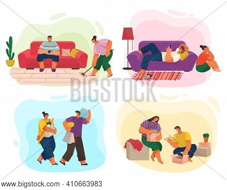 Life Of A Young Couple, Set Of Scenes From Everyday Household Chores, Shopping At The Store, Cleanin
