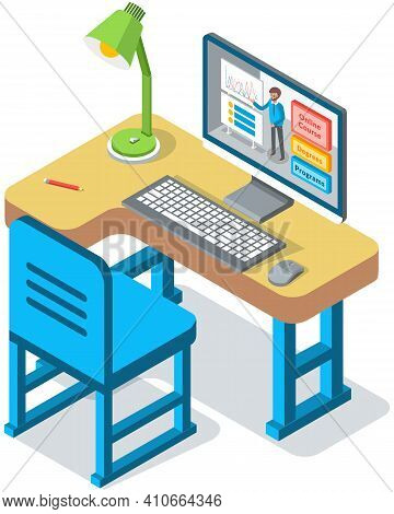 Online Education Concept. Desk For Student With Computer And Application On Screen For Distance Lear