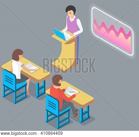 University Lecture With Professor And Students, Seminar. Man Teacher Is Using Interactive Whiteboard