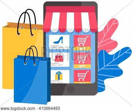 Application For Online Shopping On A Phone Screen. Special Offer Purchases Vector Illustration. App