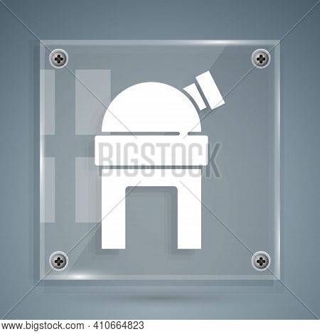White Astronomical Observatory Icon Isolated On Grey Background. Observatory With A Telescope. Scien