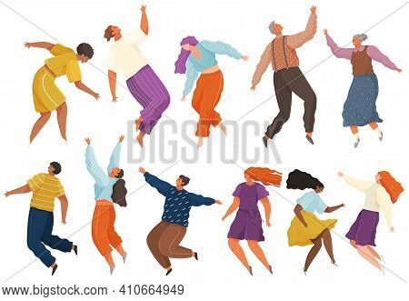 Cartoon People Soaring And Flying In The Air Dreaming Person In Movement Pose Isolated On White. Cha