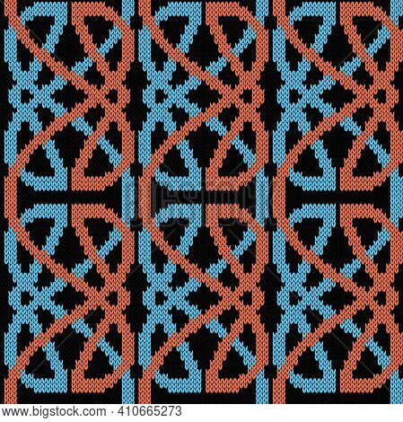 Seamless Knitted Ornate Vector Pattern In Blue And Orange Colors On Black Background As A Fabric Tex