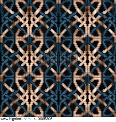 Ornate Knitting Seamless Vector Pattern In Muted Blue And Beige Hues On Black Background As A Fabric