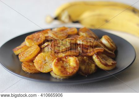 Caramelised Plantain Slices. A Traditional Tea Time Snack From Kerala.cut Ripe Plantain Into Slices
