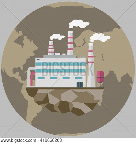 Manufacture Pollutes Atmosphere And Environment. Enterprise Isolated On Piece Of Land. Building Dest