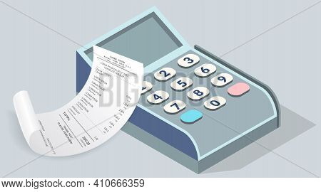 Payment Check Paper Document Near The Cash Register, Cash Terminal. Buying Financial Invoice Bill Pu