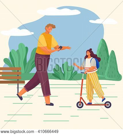 Family Is Walking In The Park In Spring Or Summer In Warm Weather. Father Is Walking With A Phone In