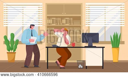 Boss Screams On Employee Sitting At A Table And Talking On Phone. Hard Work Nervous Day. Angry Boss